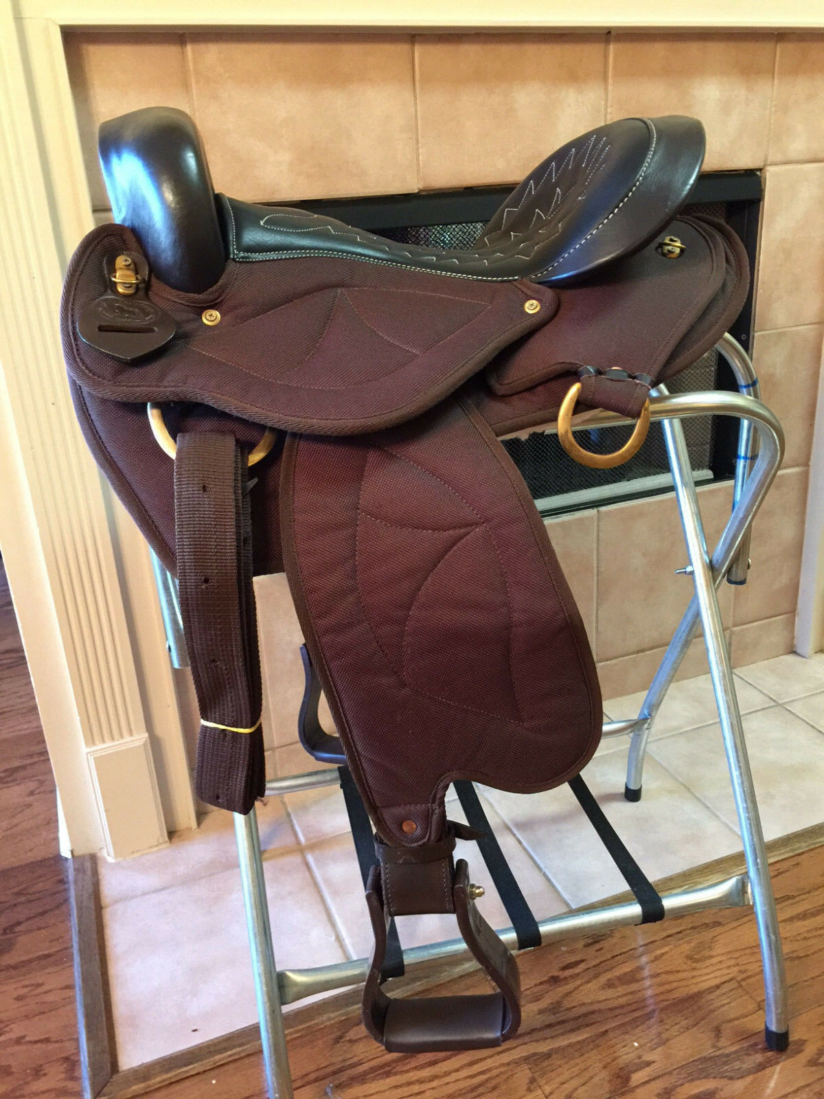 15  TN Saddlery Quilted Gaited Western Saddle Brown