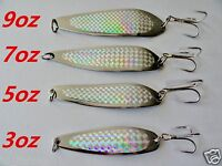 4 Pieces Crocodile Spoons Chrome/silver Saltwater Fishing Lure Select Weight