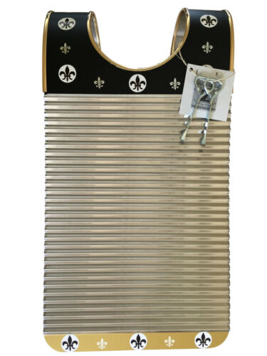 """Washboard Zydeco /""""Black /& Gold Fleur De Lis Rubboard Scrubboard  Frottoir"""