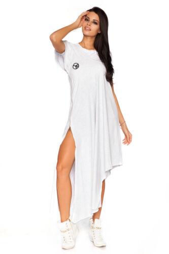 Robe Maxi asymétrique avec zip libre t-shirt blanc coton tunique taille unique ft2086