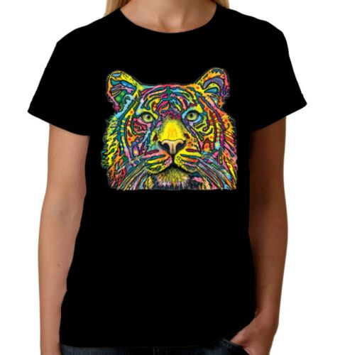 Velocitee Ladies T-Shirt Colourful Tiger Psychedelic Neon Rave Clubbing A18488