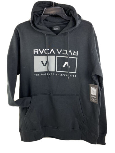 RVCA Hooded sweatshirt men's LARGE Hoodie black the balance of opposites graphic