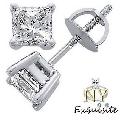 CERTIFIED .75ct F SI1 PRINCESS-CUT GENUINE DIAMONDS IN 14K gold STUDS EARRINGS