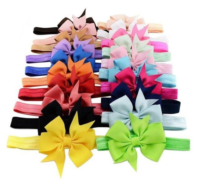 20PCS Kids Girl Baby Headband Toddler Hair Bow Band Grosgrain Ribbon Accessories