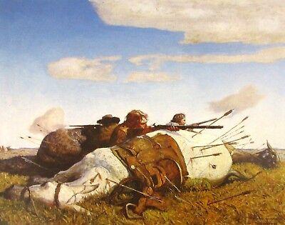 Vintage Art N C Wyeth Fight Plains Shower Arrows Rained 1916 Native Cowboy Horse