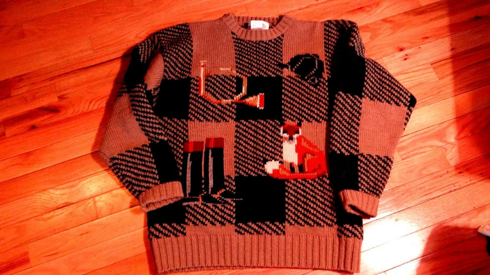 Womens wool sweater brown green by Miller's Sportswear Kristin Collection size L