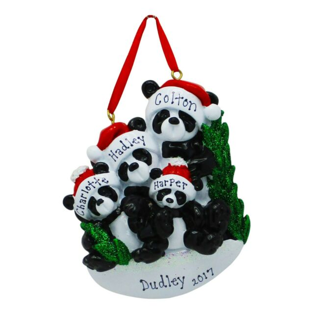 PERSONALIZED Panda Bear Family of 4 Christmas Tree ...