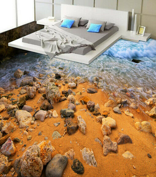 3D Sand Stone Beach 452 Floor WallPaper Murals Wall Print Decal AJ WALLPAPER