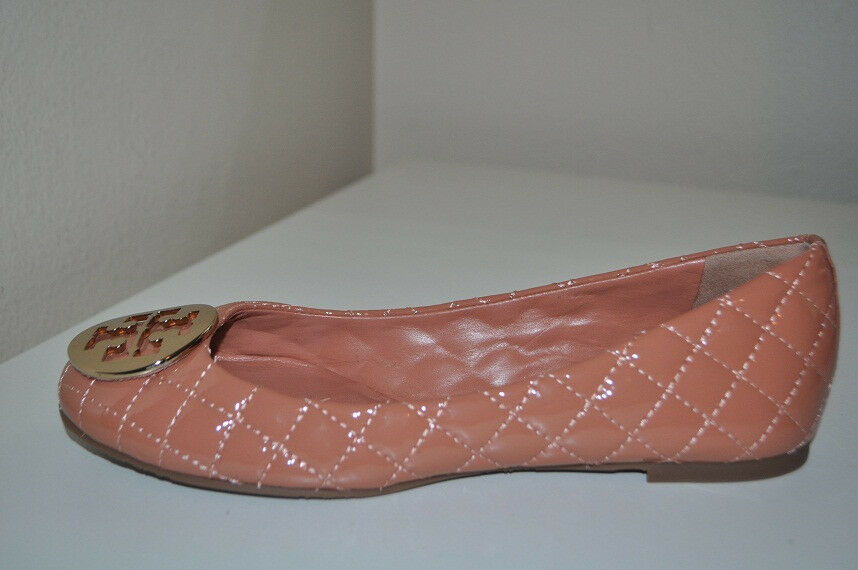 Tory Burch QUINN Quilted Patent Leather Ballet Flat  oro Logo 10 Chestnut Bronze  bellissima