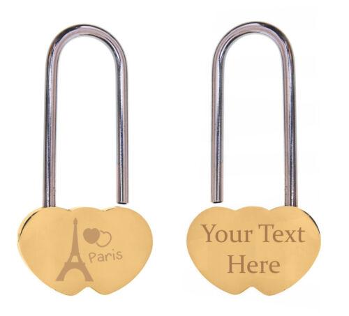 Double Heart Padlock Love Locks Custom Text Engraved Personalised Valentines