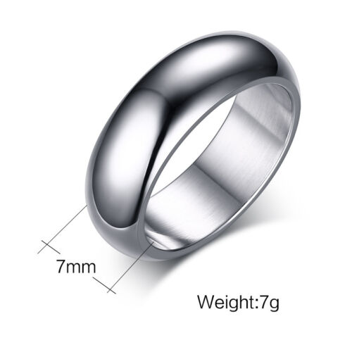 7mm Simple Smooth Polished Band Men/'s 316L Stainless Steel Wedding Ring Sz 6-13