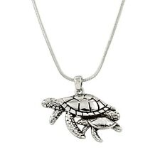 """Sea Turtle Mother & Baby Charm Pendant Fashionable Necklace - 17"""" Chain"""