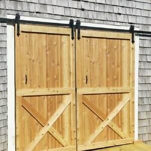 8FT Double Sliding Barn Door Hardware Kit Rail System w ...