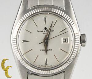 Vtg-Ladies-Baume-amp-Mercier-Stainless-Steel-Baumatic-Automatic-Watch-w-Date-1215