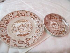 antique holland maestricht societe ceramique saucer plate brown xfer