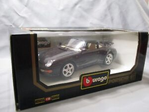Ai344 Bburago Burago 1/18 Porsche 911 Carrera 1993 Noire Ref 3060