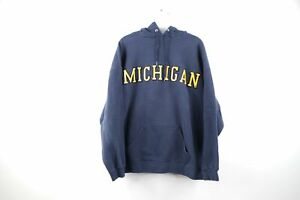 Vintage-90s-Mens-XL-University-of-Michigan-Spell-Out-Faded-Hoodie-Sweatshirt