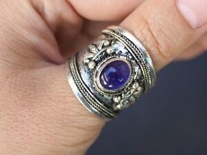 b6668a2e40c22 Details about Wide Adjustable Tibetan Big Oval Amethyst Gemstone Dorje  Amulet Ring Thumb Ring
