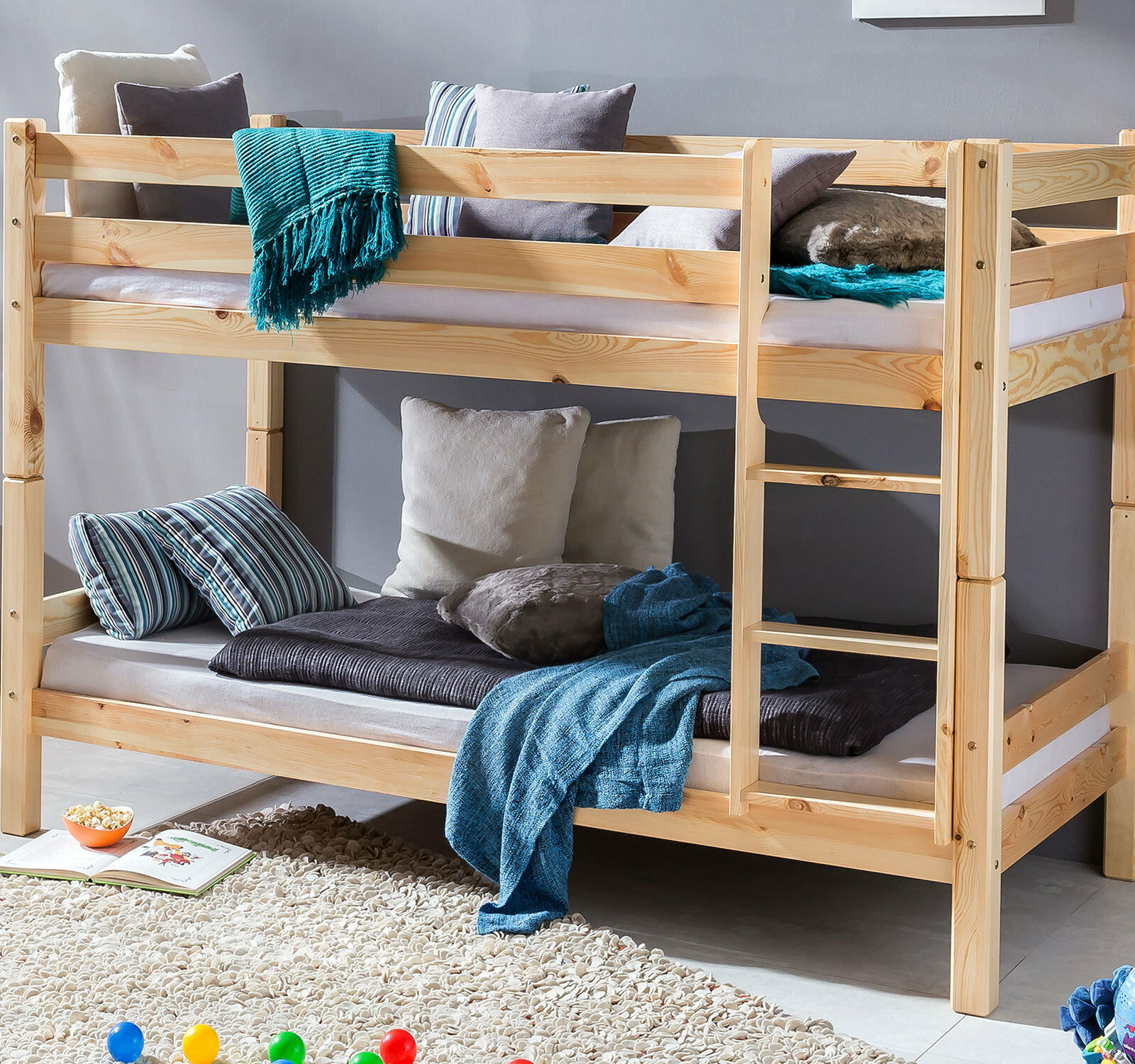 etagenbett kinderbett hochbett spielbett kiefer massiv holz teilbar pfosten 70mm ebay. Black Bedroom Furniture Sets. Home Design Ideas