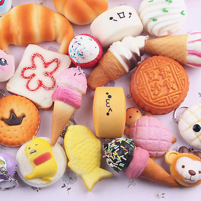 Lot Mini Random Squishy Soft Panda/Bread/Cake/Buns Phone Straps Charm Keychain