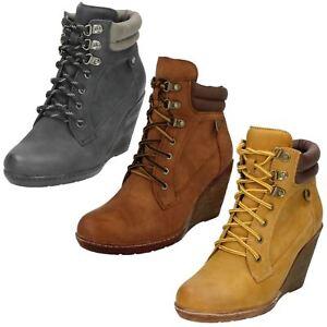 Mujer-REBAJAS-Spot-On-Cordones-Plataforma-Botas-Negro-marron-o-miel-f50324s