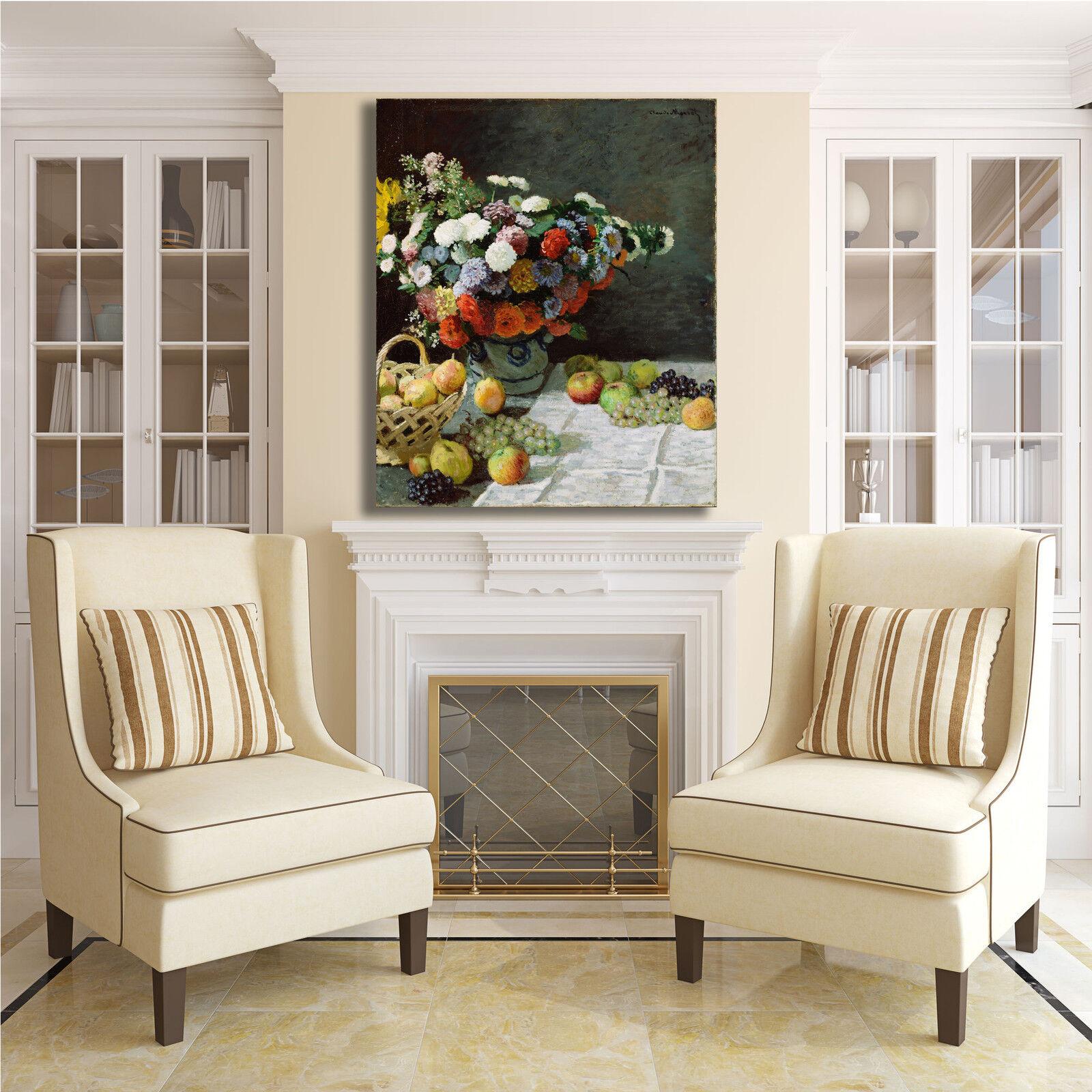 Monet natura tela morta fiori frutta quadro stampa tela natura dipinto telaio arRouge o casa f1d634