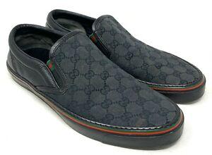 Auth-GUCCI-GG-Logo-Sherry-Line-Slip-on-Sneakers-Flats-9-5-US-10-Black-Rank-B