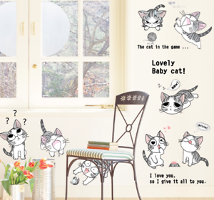 Cute-Cat-Vinyl-Home-Room-Decor-Art-Wall-Decal-Sticker-Bedroom-Removable-Mural