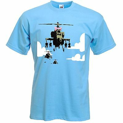 BANKSY HAPPY CHOPPERS T-SHIRT -  Helicopter - Sizes S to XXXL
