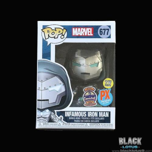 Infamous Iron Man Dr BLEMISHED Funko Pop Doom Glow Marvel ComicFest PX Pop 677