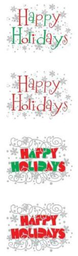 "Express Happy Holidays Stickers Mrs Grossman 2 sheets per pack 2/"" x 6 1//2/"" 58283"
