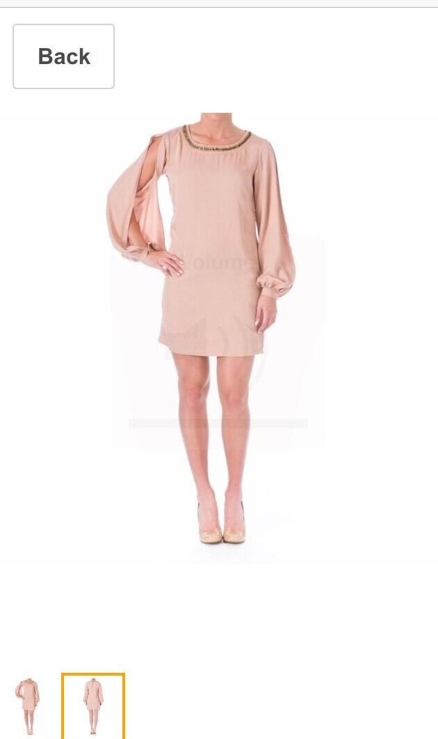 Elizabeth & James 345  Embellished Landval Tunic Dress Pink Beaded M burch dvf