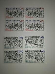 timbres-EUROPA-andorre-1981-neuf-xx-bloc-de-4-cote-18-euros-292-et-293