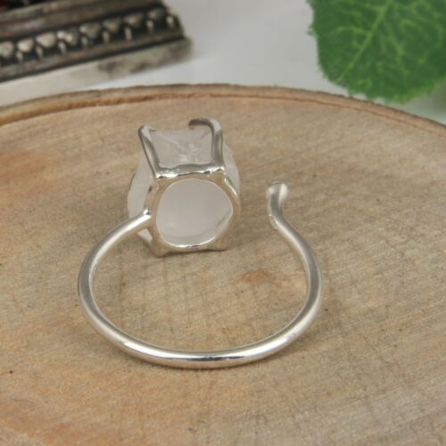 Details about  /Clear Color Less Quartz Adjustable Ring Sterling Silver Raw Gemstone Ring
