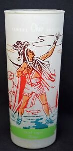 Vtg Famous Ohio Indians Mingo Cheif logan Frosted Glass Tumbler
