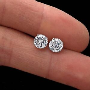 14K-White-Gold-1-78CT-Round-Created-Diamond-Earrings-Solitaire-Screwback-Studs