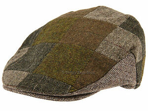 Hawkins Mens Mix Wool Patchwork Country Style Flat Cap Hat Headwear ... d9eb8d7d89f5
