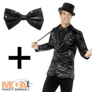 BLACK SEQUIN BOW TIE CIRCUS CLOWN Mens Ladies Womens Fancy Dress Accessory