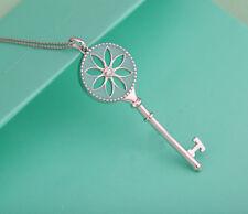 Elegant CZ zircon Bead Daisy Key Pendant Silver Chain Charm Necklace Womens Gift