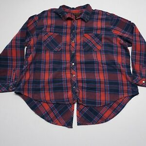 Bit-amp-Bridle-Blue-Red-Plaid-Button-Snap-Long-Sleeve-High-Low-Top-2X