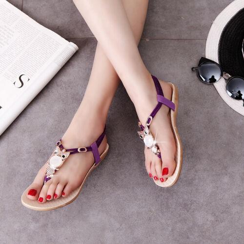 UK Women Fashion Thong Sandals Boho Owl Beads Girl Beach Flat Slippers Shoes HA