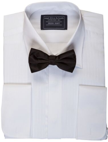 "MENS PLEATED DRESS SHIRT TUX TUXEDO SHIRT /& BOW TIE SET 14 15 16 17 18 21 1//2 /"""