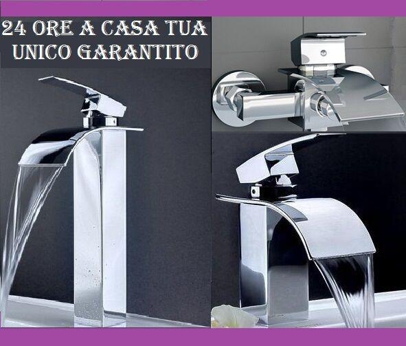 RUBINETTO LAVABO BIDET VASCA DOCCIA A CASCATA MURO MISCELATORE RUBINETTERIA ALTO