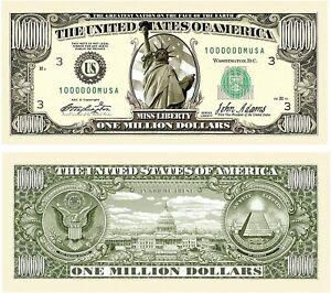 * Statue Of Liberty 2-1,000,000 Novelty Dollar Bills Miss Liberty Million $$