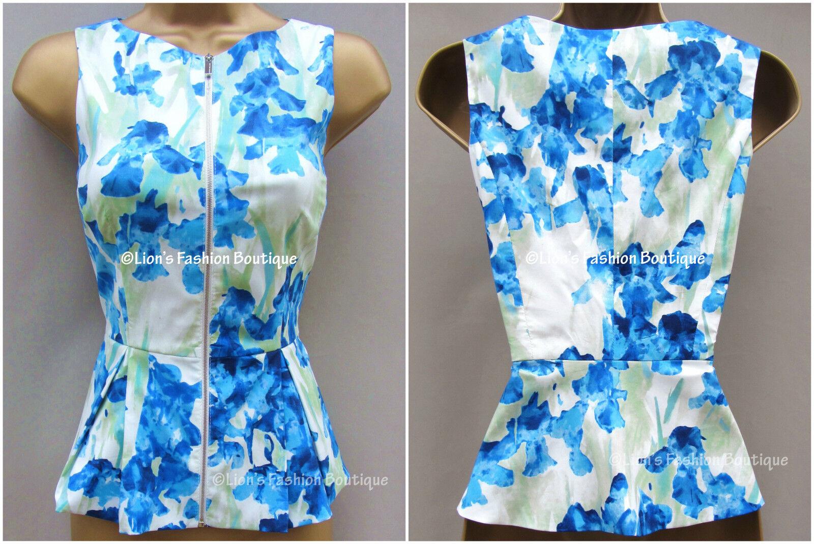 New KAREN MILLEN Iris Floral Print BNWT  Office Party Peplum Blouse Shirt Top
