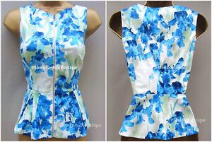 New-KAREN-MILLEN-Iris-Floral-Print-BNWT-99-Office-Party-Peplum-Blouse-Shirt-Top