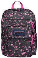 New Girls JANSPORT Big Student Backpack Bookbag ROSES Large Nwt Black Pink