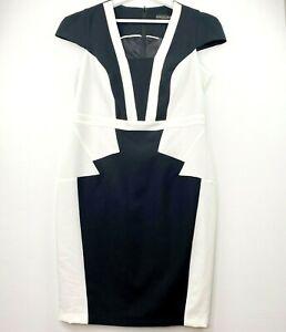 Dorothy Perkins Women's Size 14 Black White Colourblock Business Sheath Dress