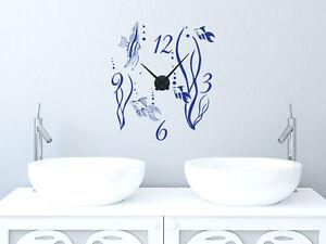 Details zu Wandtattoo Wandaufkleber Uhr Wanduhr für Badezimmer Aquarium  Fische und Pflanze