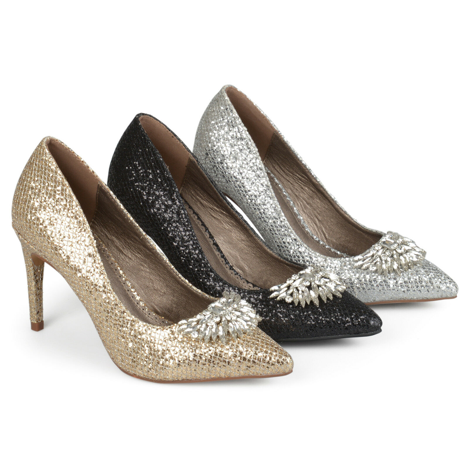 Brinley Co Womens Faux Leather Jewel Pointed Toe Glitter Heels New New Heels e7074a
